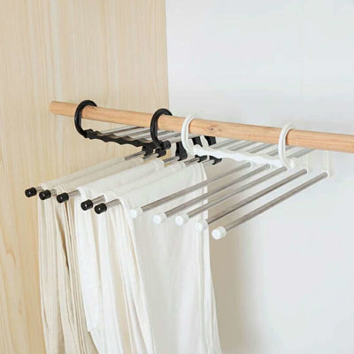 5-in-1 Hangs Holder Storage Rack Stainless Steel Pants Rack Homeware Drying  Shelf Closet Organizer Clothes Hanger Four Colors