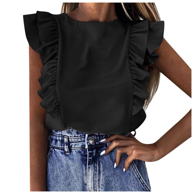 Women Blouses Fashion Ruffle Short Sleeve O-neck Tunic Blouse Holiday Plain Shirts blusas mujer de moda 2020 plus size blouse