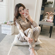 Womens Satin Pajamas Sets Two Piece Faker Silk Smooth Sleepwear Sexy Homewear Long Sleeve Top Pants Female Nightwear Sets Autumn