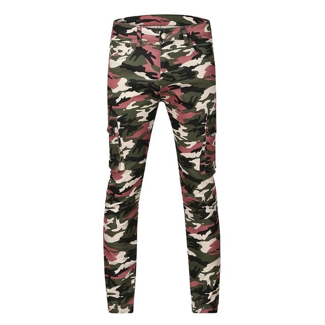 jeans for men Fashion Camouflage Denim Trouser Distressed Jeans Long Pants Streetwear ripped jeans men pantalon