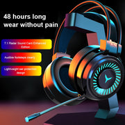 Gaming Headsets Surround Sound Stereo Wired Earphones USB Microphone Colorful Light PC Laptop Game Headset