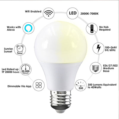 Fcmila Smart Wifi Bulb Dimming Light E27 B22 15W Smarthome Cold&Warm Light Bulb Voice Control Work With Alexa Google Home IFTTT