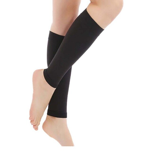 1 Pair Men Women Calf Compression Sleeve  Brace Support Footless Compression Socks Fit Shin Splint Leg Pain Relief Running