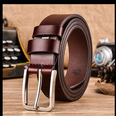 Gold Horse Leisure Leather Strap Business Men's Belt Metal Buckles Belt Cow Genuine Leather Luxury Strap Male Belts For Men New