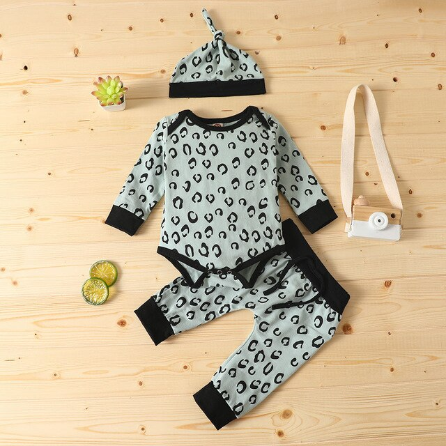 Newborn Baby Boy Clothes Set Winter Long Sleeve Leopard Print Romper Bodysuit + Pants+hat Outfits 6-24 Months Clothing #c