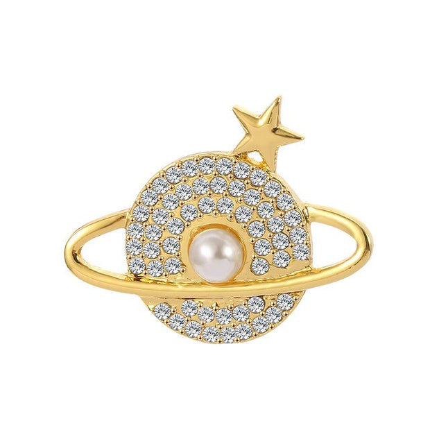 Creative Planet Brooches for Women Men White Zircon Universe Corsage Gold Silver Color Brooch Pin Daily Apparel Accessories