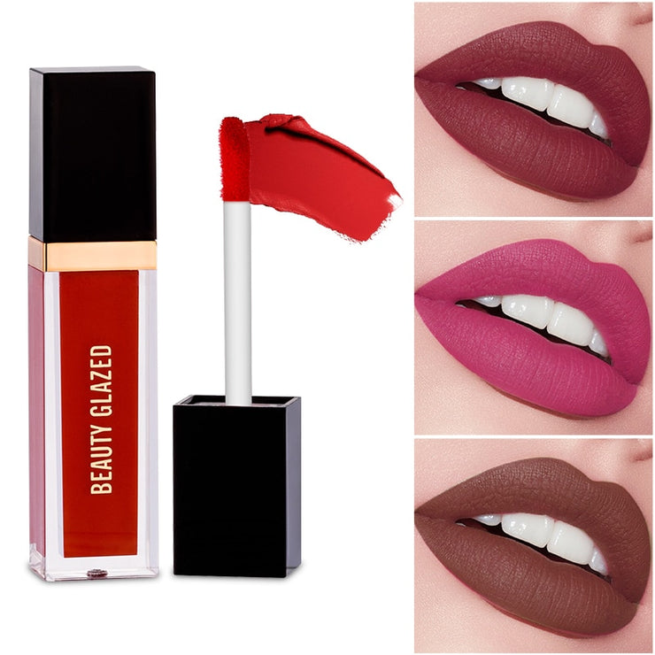 Beauty Glazed 24 Colors Matte Lip Gloss Natural Long-lasting Waterproof No Fading Non-stick Cup Lip Glaze Sexy Lip Makeup TSLM1