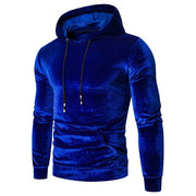 Velvet Hoodie Sweatshirts Men's Autumn Spring Pullover Plus Size Long Sleeves Sweatshirt Solid Color Slim Fit Tops ##5