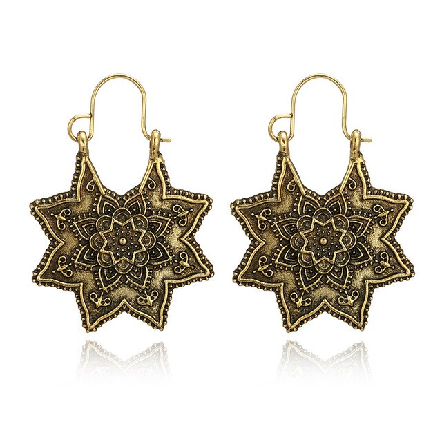 Bohemia Vintage Ethnic Dangle Drop Earrings for Women Female Anniversary Bridal Party Wedding Jewelry Ornaments Accessories