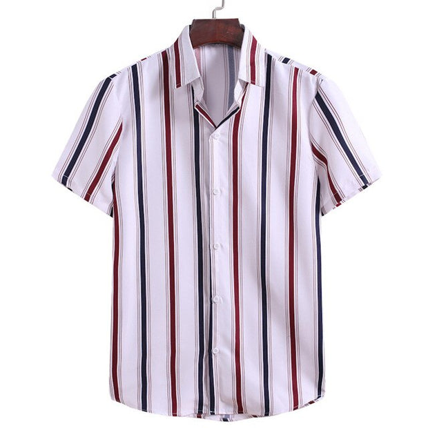 Men Summer Hawaiian Shirt Striped Printed Short Sleeve Business Shirt Loose Cool Thin Breathable Beachwear Holiday Men Shirts