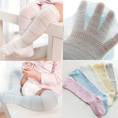 Newborn Children's Baby Boys Girls Solid Lace Knee High Antislip Princess Stockings Socks Mesh Thin Over Knee Long Tube#40
