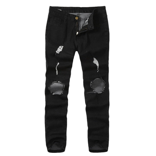Autumn Mens Skinny Stretch Denim Pants  Distressed Ripped Freyed Hole Taped Slim Fit Skinny Jeans Trousers Sweatpants Hombre #40