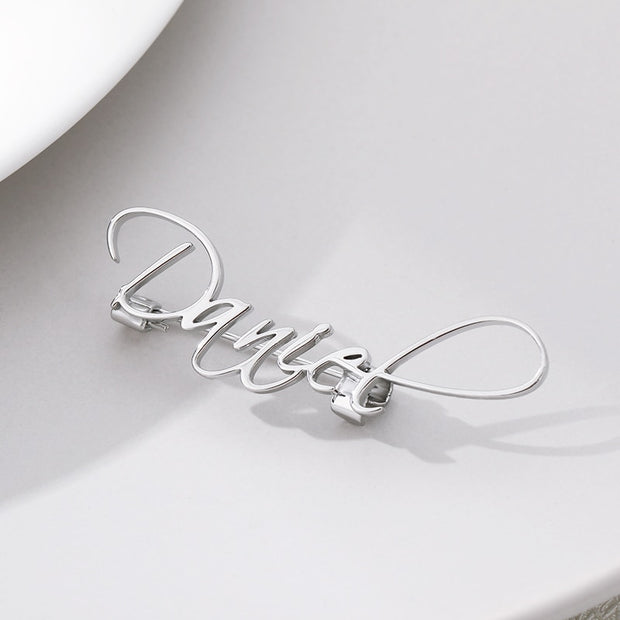 Cursive Font Custom Name Brooches Pins For Women Clothing Accessories Personalized Nameplate Pins Party Gifts Jewelry