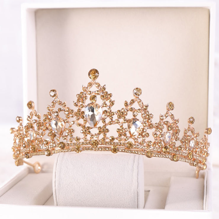Champagne Gold Crown Hair Jewelry Bridal Headpiece Woman Rhinestones Crystal Tiaras Bride Party Crowns Wedding Hair Accessories