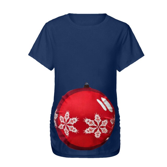 Maternity Clothes Summer Women Pregnant Maternity O-Neck Short Sleeve Print Christmas Shirt Blouse Plus Size 3XL Tops ciazowe@45