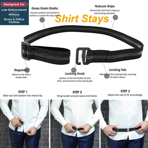 Fashion Shirt Holder Adjustable Near Shirt Stay Best Tuck It Belt for Women Men Work Interview Black Color 120cm &C