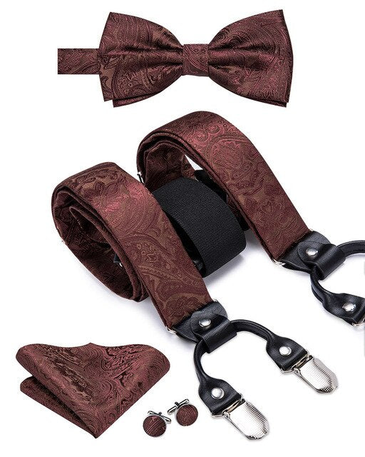 Hi-Tie Silk Suspenders for Men Adult Leather 6 Clips Braces Men Brown Floral Suspender Bowtie Pocket Square Cufflinks Set