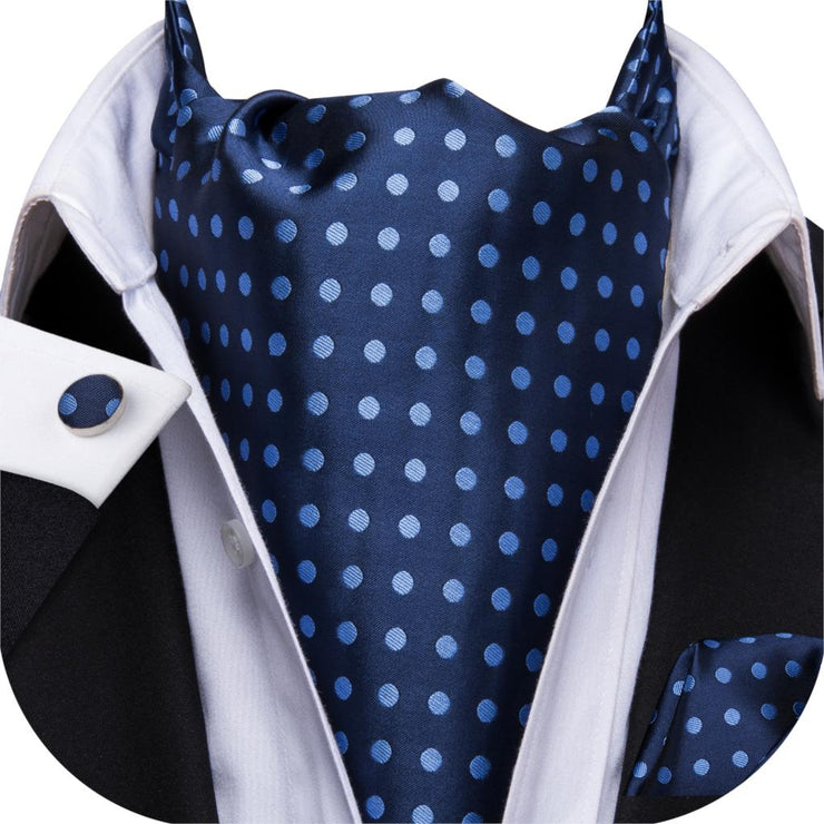 Hi-Tie Ascot Tie for Men Silk Cravat Dots Neck Tie Cufflinks Set Navy Blue Tie for Wedding Party Wholesale AS-1011