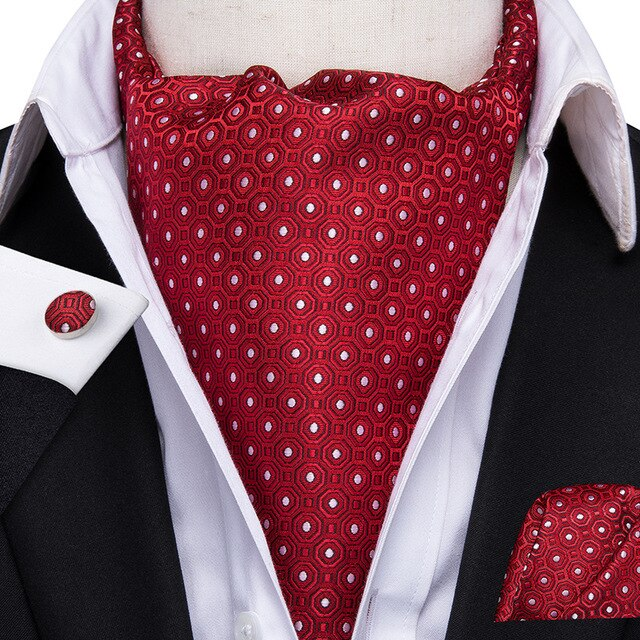 Hi-Tie Romantic Red Heart Valentine's Day Cravat for Men Wedding Party 100% Silk Ascot Pocket Square Vintage Self Tie Casual Tie