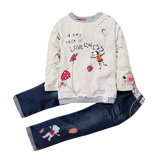 Toddler Baby Girls Clothes Set Cartoon Print Long Sleeve Tops Denim Jeans Pants Outfits two pieces Set детская одежда 18M-6Y