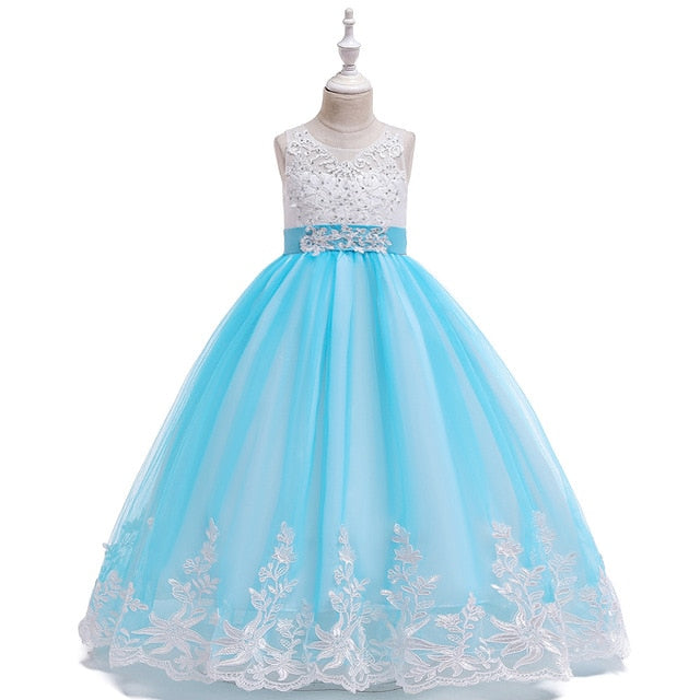 Children Girl Dress Lace  Ball Gown  Evening Party Clothing Kids Princess Wedding Long Dresses Back Bow Vestido