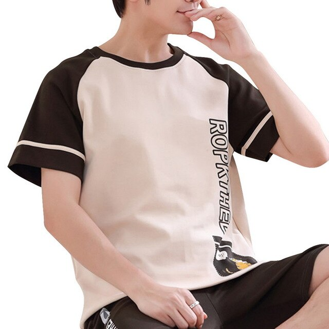 Men Summer Cotton Short-sleeved Shorts Pajamas Set Thin Section Home Suit Multi Styles Plus Size Mens Sleepwear Pajamas