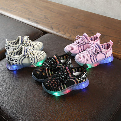 Fashion Children Kids Baby Girls Boys Mesh LED Light Luminous Shoes Toddler Flashing LightsSport Running Sneakers Shoes#G4