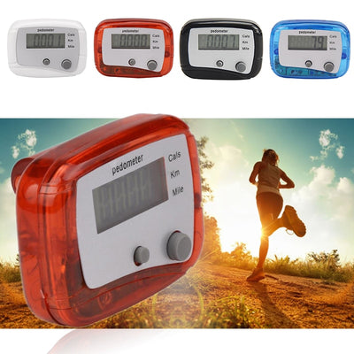 1 LCD Pedometer Walking Distance Calorie Counter Sport Equipment Double Keys Jogging Training Health Tool