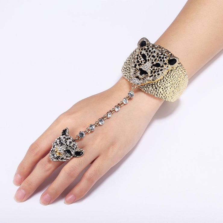 Tuliper браслет с кольцом Panther Bangles Ring Set For Women Animal Leopard Crystal Ring Bracelet Party Jewelry Pulseras Femme