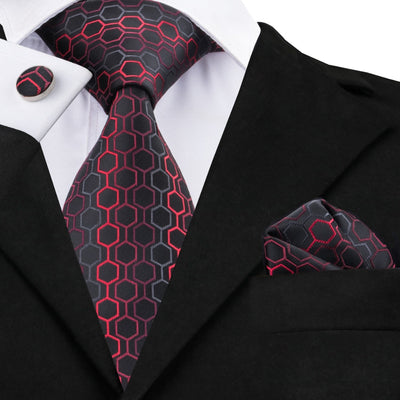 C-584 Black Dimgray Red Geometric Print Neckties For Men 2017 New Designer Social Mariage Business Party Man's Neck Ties Sets