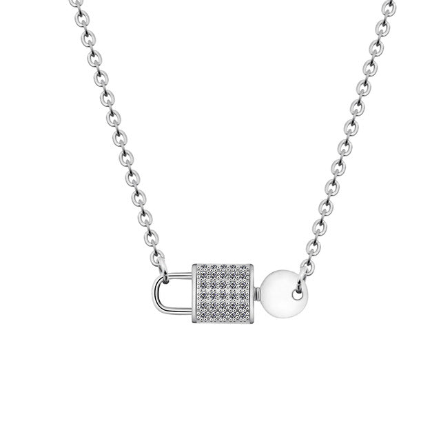 Key Lock Necklaces Women Stainless Steel