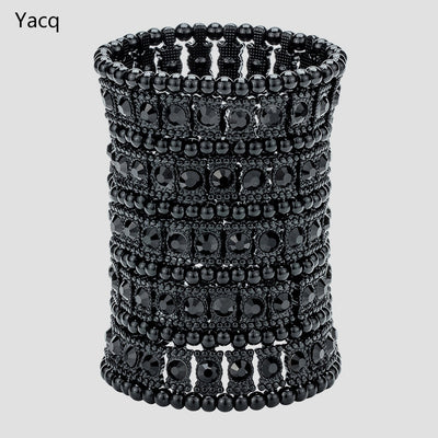 YACQ Multilayer Stretch Cuff Bracelet Women Crystal Wedding Bridal Fashion Jewelry Gifts for Her Wife B13 Wholesale Dropshipping