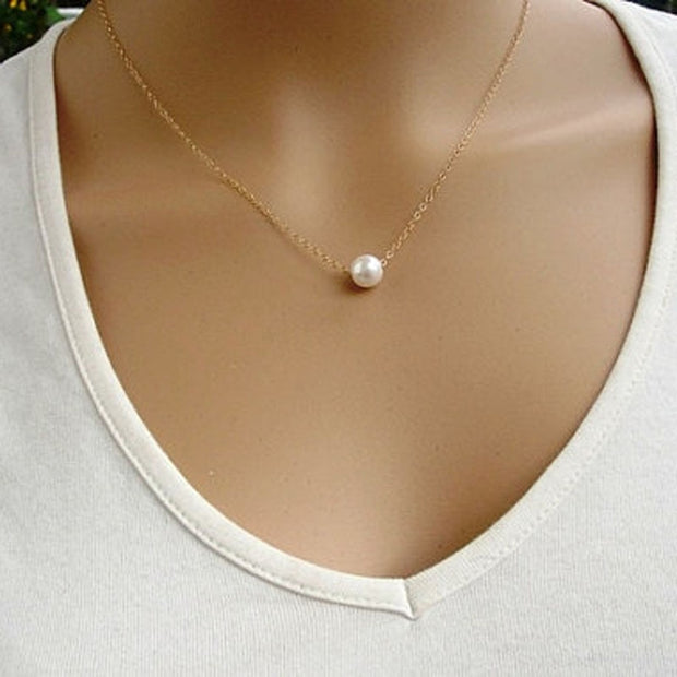 Women Fashion Simple Imitate Pearl Bib Choker Statement Collar Necklace Charms