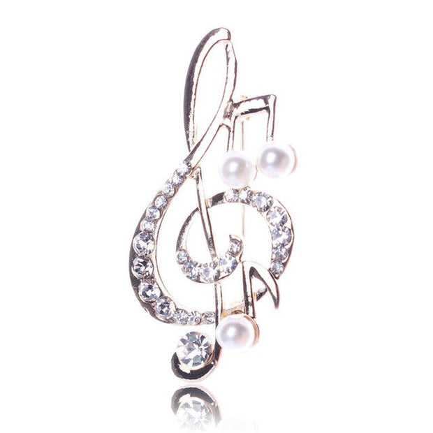 Women's Rhinestone Music Note Scarf Brooch Rose Gold Treble Clef Pin Jewelry