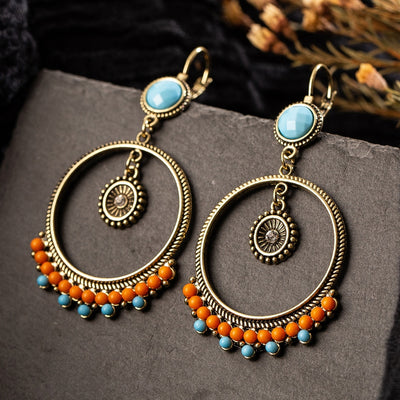 Vintage Ethnic Round Beads Dangle Drop Earrings Hanging for Women Female Fashion Anniversary Party Jewelry Ornaments Accessories