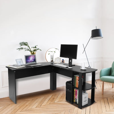 Utility Wooden Office Computer Writing Desk Home Gaming PC Furnitur L-Shape Corner Study Computer Table With Book Shelf