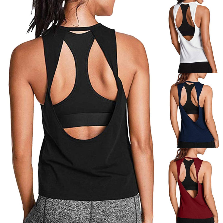 Women Activewear Sexy Open Back Shirt Workout Sports Gym