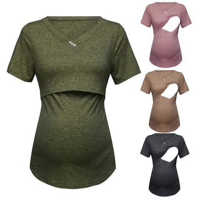 Women's Short Sleeve Pure Color Tops