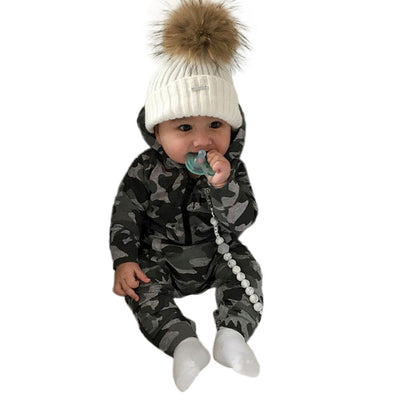Infant Baby Boys Girls Camouflage Print Hooded Romper