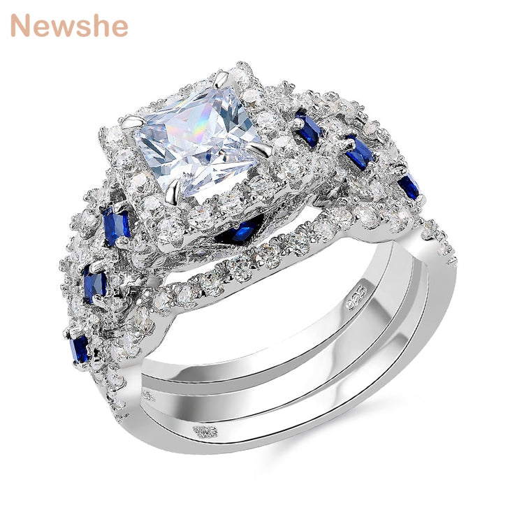 Newshe Wedding Ring Sets Classic Jewelry 3 Pcs
