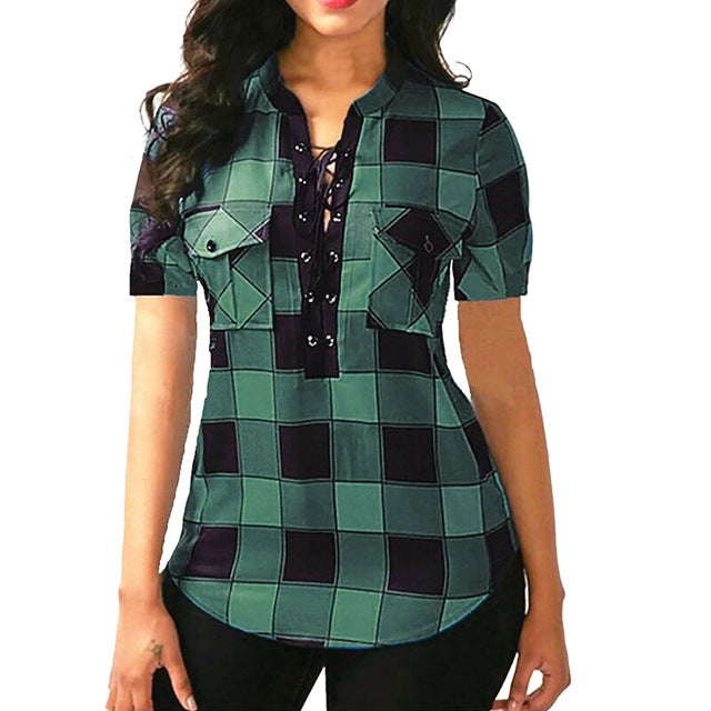 Women Plaid Blouse Shirts