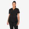 Barco One women's black scrub top. V-neck with hidden zip. Raglan sleeves. 3 pockets. 4-way stretch fabric.
