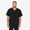 Barco One men's black V-neck scrub top. 4 pockets. Angled seams. Four-way stretch fabric wicks moisture. Anti-static.