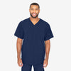 Barco One men's indigo V-neck scrub top. 4 pockets. Angled seams. Four-way stretch fabric wicks moisture. Anti-static.