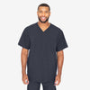 Barco One men's stormy sky V-neck scrub top. 4 pockets. Angled seams. Four-way stretch fabric wicks moisture. Anti-static.