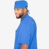 Grey's Anatomy Classic unisex blue fitted scrub cap with back tie. Elastic sides. Soft-touch 4-way stretch fabric.