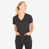 Grey's Anatomy Classic women's black scrub top. Knit V-neck. 4 pocket. Princess seams. Soft-touch 4-way stretch fabric.