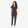 Grey's Anatomy Impact women's black scrub pants. Tapered leg. 6 pockets. Barco tape details. Moisture-wicking stretch fabric.