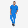 Barco One men's royal blue V-neck scrub top. 4 pockets. Angled seams. Four-way stretch fabric wicks moisture. Anti-static.
