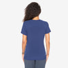 Barco One women's indigo scrub top. V-neck with hidden zip. Raglan sleeves. 3 pockets. 4-way stretch fabric.